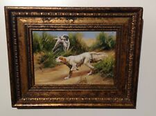 Original Art Classic Styled English Setters Hunting In Countryside With Ornate F