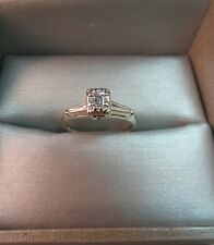 Antique 14k White Gold Diamond Ring Emerald Cut Marked 585 TNC Size 5 Art Deco