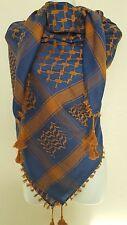 Dark Blue Rust Orange Arab Shemagh Head Scarf Neck Wrap Cottton Cover Unisex