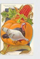 PPC POSTCARD THANKSGIVING TOKEN TURKEY PUMPKIN CORN EMBOSSED