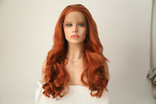 Long Synthetic Lace Front Wig Body Wave Colored Resistant Fiber Wig Red/Blonde