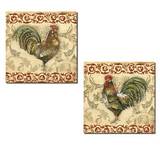 Vintage French Country Rooster on Toile; Two 12x12 Poster Prints