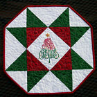 Handcrafted Quilted Embroidered Table Runner Topper- MERRY CHRISTMAS TREE STAR