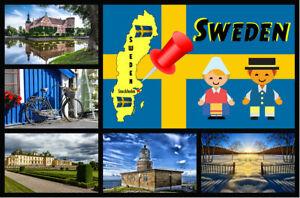 SWEDEN MAP & FLAG - SOUVENIR NOVELTY FRIDGE MAGNET / SIGHTS / BRAND NEW / GIFTS