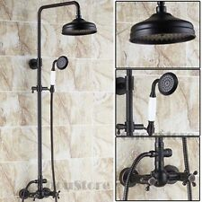 Traditional Oil Rubbed Bronze Rain Shower Head Mixer Valve Hand Spray Bath Set