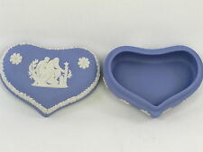 Wedgwood Jasperware Heart Trinket Box Classical Greek Figures Jasper Ware Blue