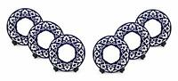 Royalty Porcelain 6-pc Russian Fine Blue Floral Set of Dinner Plates