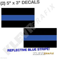"""2PK Reflective 3""""x5"""" Thin Blue Line Window Decal Stickers Police Law Enforcement"""