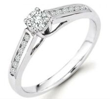 14k White Gold Round Diamond Channel Set Engagement Ring (0.67 CT, SI-I Clarity)