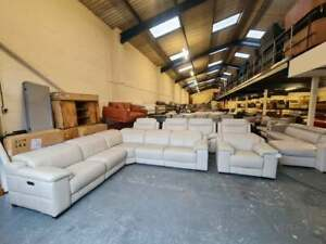 Ex-display Laurence cream leather electric recliner corner sofa and armchair
