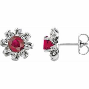 Chatham Created Ruby & 1/6 CTW Diamond Earrings In Platinum