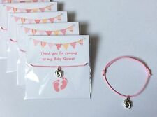 5 X Bracelets BABY SHOWER Feet Pink charm adjustable wax cord Mum GIRL gift