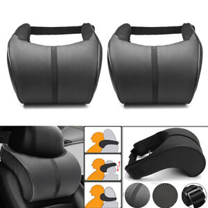 2x Black PU Leather Car Seat Headrest Memory Foam Pillow Head Neck Rest Cushion