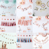 Oh Baby Rose Gold Baby Shower Bunting Banner Garland Gender Reveal Party Deco