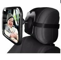 Car Driving Mirror Baby Child Large Rear View Safe Universal Wide Strap Black