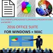 2016 Office Suite PC CD--Windows Vista, 7/8/10 + Mac OS x-2010 2013 2016 OFFICE