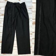 Caravelli Men's 34R Black Side Stripe Pleated Tuxedo Slacks Pants Trouser