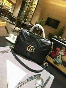 GUCCI Hibiscus Black Small Bag Leather GG Top Handle Handbag Marmont Matelasse