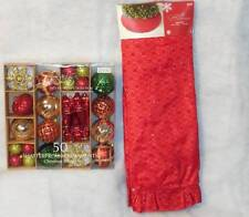 Red Tree Skirt Glistening Brocade Jaclyn Smith & 50 Ornaments~New~Retails $49.98