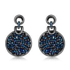 New Shiny Round Swarovski Crystal Element Blue Black Gun Plated Earrings Jewelry