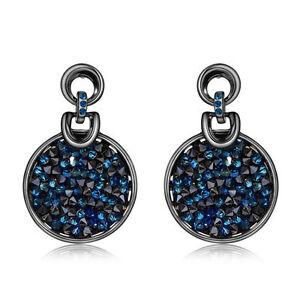 Blue Round Earrings Swarovski Crystal Element Black Gun Plated Earrings Jewelry
