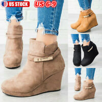 Women Wedge Heel Ankle Boots Chunky Suede Round Toe Zipper Buckle Casual Booties