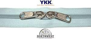 YKK Nylon Coil Zipper Tape #10 Dusty Blue 10 yards with 20 Nickle Zipper Sliders