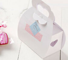 50 White Paper Gift Boxes Carry Handle Cupcakes Favours chocolate heart die cut