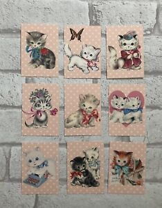 Vintage Retro Style Cute Kitty Cat Card Toppers, Gift Tags Craft Make Kitsch