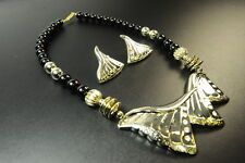 CHUNKY GOLDEN DIAMANTE ENCRUSTED SEA SHELL THEMED NECKLACE/EARRING SET(CL15)