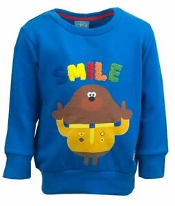 12-18 MONTHS Hey Duggee Baby Boys Sweater Jumper Blue Smile Ex Chainstore Top