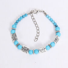 NEW DIY fashion butterfly blue Tibetan silver beaded bracelet gift of love S28
