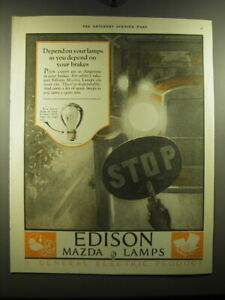 1923 G.E. Edison Mazda Lamps Ad - Depend on your lamps