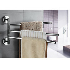 3 Towel Swivel Holder Bars Stainless Steel Bath Rack Rail Hanger Bathroom Shelf