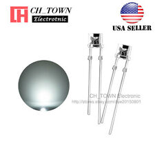 100pcs 3mm Flat Top Water Clear White Light Wide Angle 120deg Led Diodes Usa
