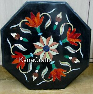 18 Inches Black Marble Sofa Side Table Antique Design Coffee Table Top for Decor