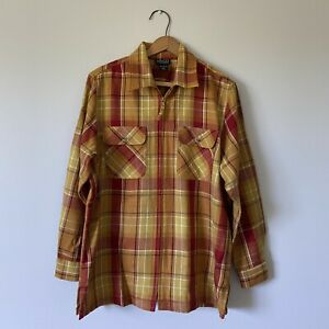Small Ladies Vintage Plaid Half Zip Front Thick Flannel Shirt