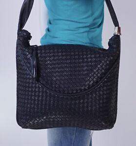 LARGE BLACK BRAIDED LEATHER Shoulder Hobo Tote Satchel Purse Bag