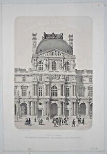 Gravure Paris 1861 Lithographie - Pavillon du Louvre