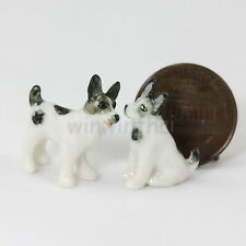 Fox Terrier Dog Puppy Animal Ceramic Figurine Dollhouse Miniature 1:12