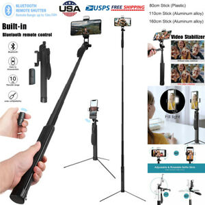 Gimbal Stabilizer Bluetooth Remote Selfie Stick Tripod w/ LED for iPhone Samsung
