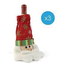 3x Navidad Papá Noel Papá Noel Vino Regalo Bolsa Botella Regalo Navidad GB