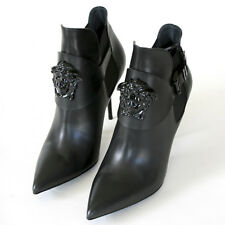 VERSACE $1,350 palazzo medusa head booties high heel pointed toe boots 41 NEW