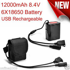 12000mAh 8.4V USB Rechargeable 6X18650 Battery Pack For Bicycle Light Bike Torch