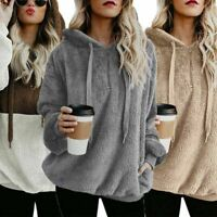US Ladies Warm Fleece Hooded Hoody Sweatshirt Women Winter Tops with Pocket 2020