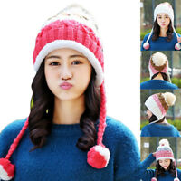 Women Warm Winter Hats With Ear Flaps Snow Ski Ball Thick Knitted Beanie Cap Hat