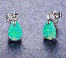 Mysterious 925 Sterling Silver Tear Drop Green Fire Opal Stud Earrings