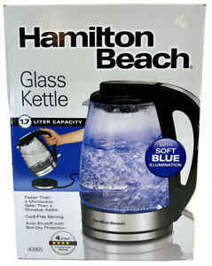 NEW Hamilton Beach 1.7 Liter ELECTRIC GLASS KETTLE for Tea & Hot Water, Cordless