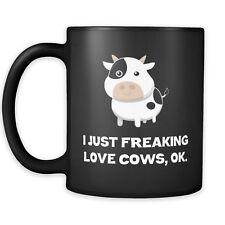 I Just Freaking Love Cows Coffee Mug - Ok Cow Moo - 11oz Cup - Black