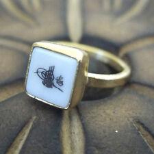 Handmade Turkish Designer Tugra Shell Ring 24K Gold Over Sterling Silver